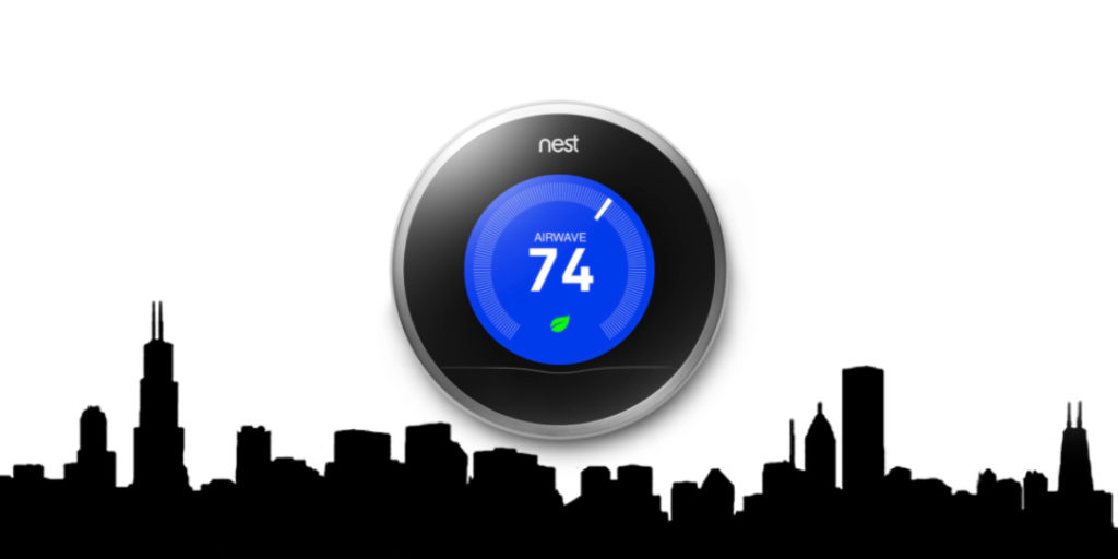 Nest Thermostat On City Skyline