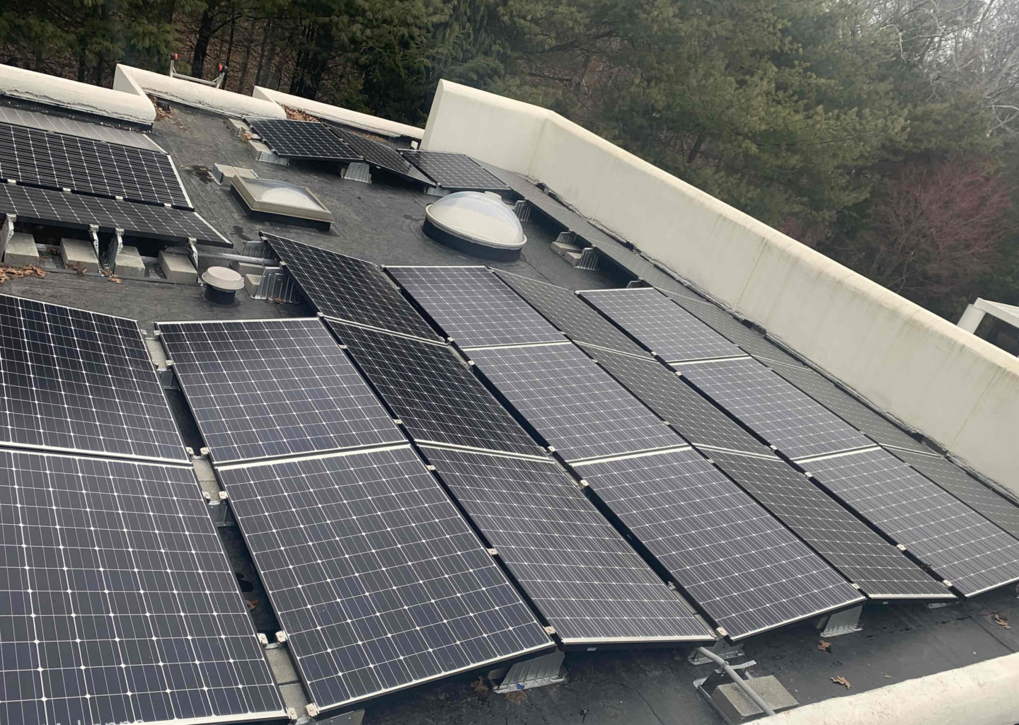 large solar array on flat roof